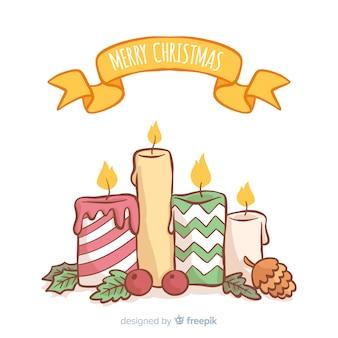 Fundo de velas de natal de mão desenhada