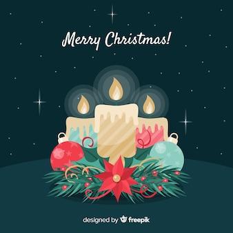 Fundo de velas de natal plana