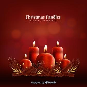 Fundo de velas de natal realista