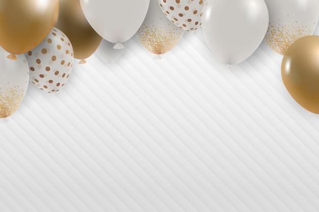 Fundo de veludo cotelê festivo de balões dourados