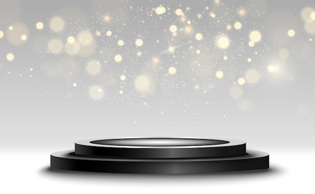 Fundo de vencedor com sinais de primeiro, segundo e terceiro lugar em um pedestal redondo. símbolos de esportes do pódio do vetor vencedor.