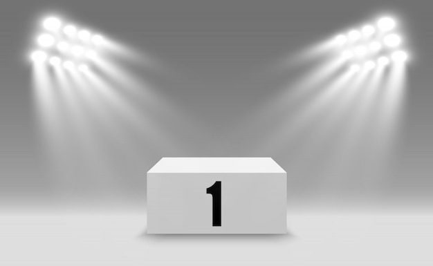 Fundo de vencedor com sinais de primeiro, segundo e terceiro lugar em um pedestal.
