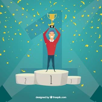 Fundo de vencedor do concurso com troféu e confete