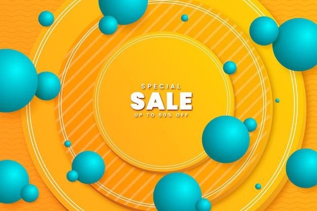 Fundo de venda 3d realista com formas de esfera