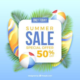 Fundo de venda com folhas de palmeira e elementos de verão