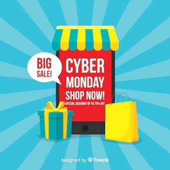 Fundo de venda cyber segunda-feira com dispositivos eletrônicos