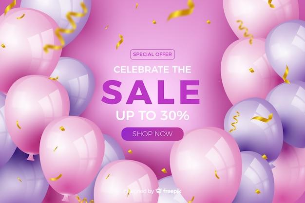 Fundo de venda de balões realistas com texto