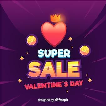 Fundo de venda de coração e moedas dos namorados
