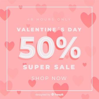 Fundo de venda de corações plana dos namorados