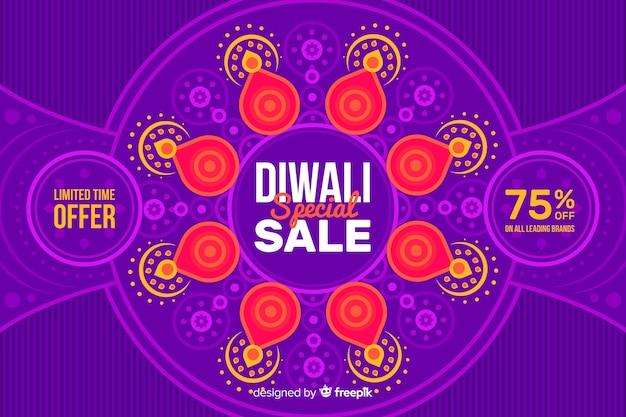 Fundo de venda de design plano diwali