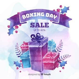 Fundo de venda de dia de boxe em aquarela