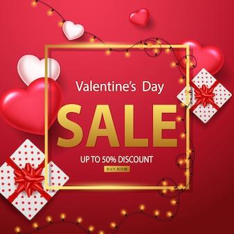 Fundo de venda de dia dos namorados com balões de coração, luzes brilhantes e caixas de presente