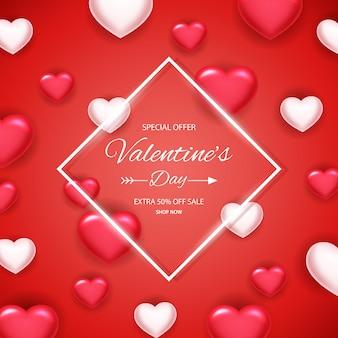 Fundo de venda de dia dos namorados com coração de balões