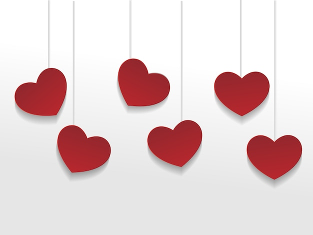 Fundo de venda de dia dos namorados com coração de papel vermelho