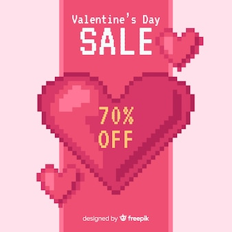 Fundo de venda de dia dos namorados de coração de pixel