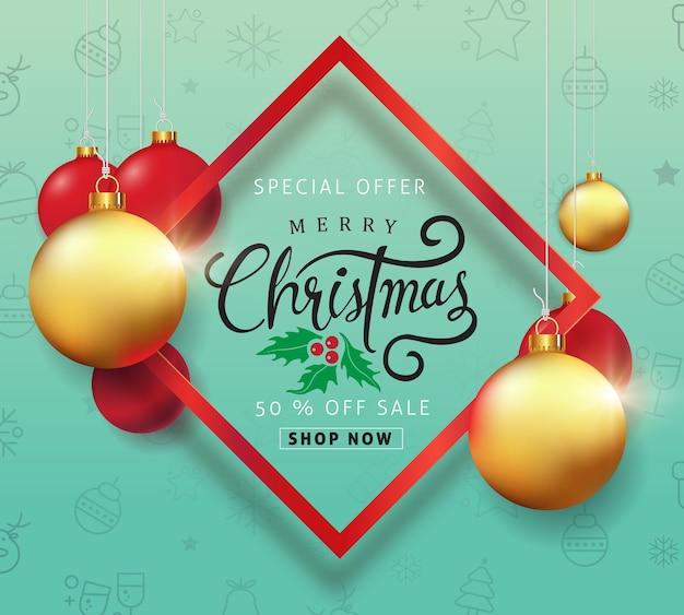 Fundo de venda de feliz natal com ornamento de bola de natal e padrão de ícone.