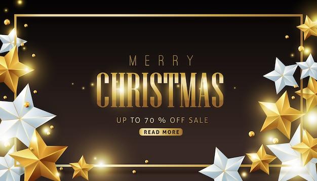 Fundo de venda de feliz natal decorado com estrelas de ouro e prata.