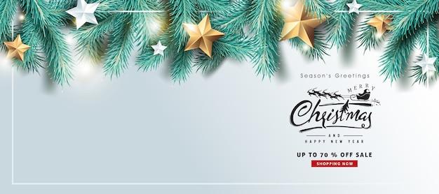 Fundo de venda de feliz natal e feliz ano novo com galhos de árvores realistas
