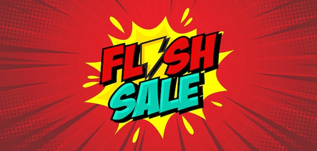 Fundo de venda de flash em estilo cômico