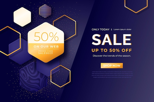 Fundo de venda de formas geométricas douradas de luxo