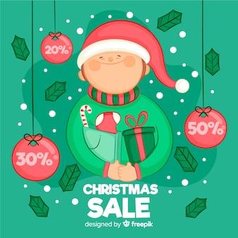 Fundo de venda de garoto feliz natal