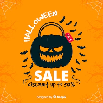 Fundo de venda de halloween com abóbora