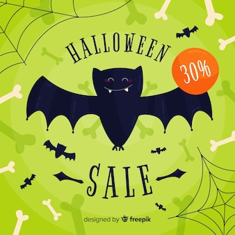 Fundo de venda de halloween design plano