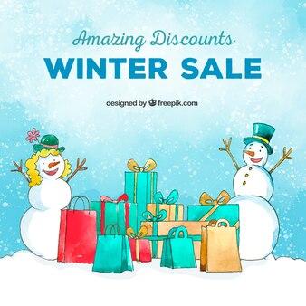 Fundo de venda de inverno aquarela neve casal