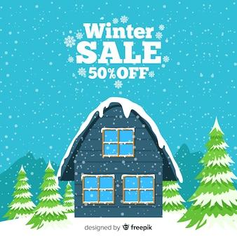 Fundo de venda de inverno casa coberta de neve