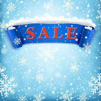 Fundo de venda de inverno com fita azul realista