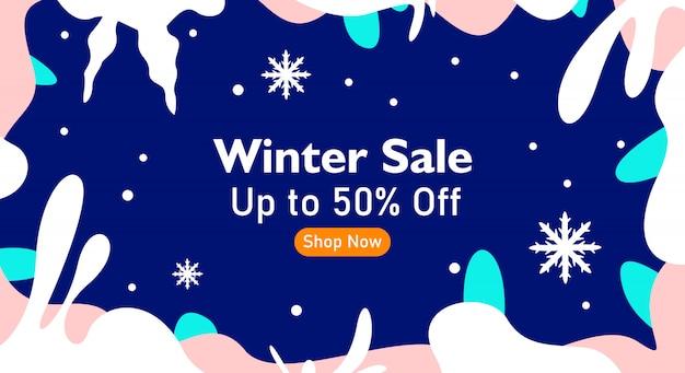 Fundo de venda de inverno com moldura floral