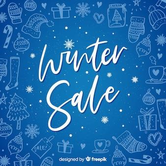 Fundo de venda de inverno mão desenhada