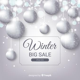 Fundo de venda de inverno realista