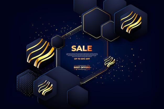 Fundo de venda de luxo com detalhes dourados
