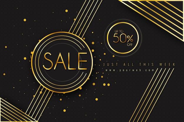 Fundo de venda de luxo dourado e preto