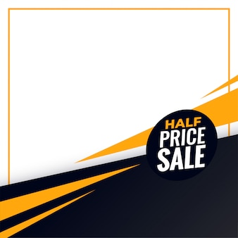 Fundo de venda de metade do preço com espaço de texto