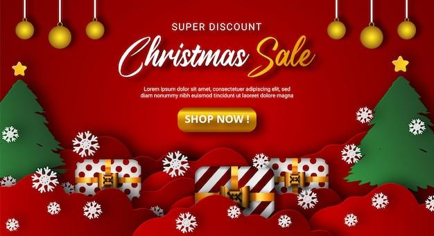 Fundo de venda de natal com caixas realistas e elemento de natal