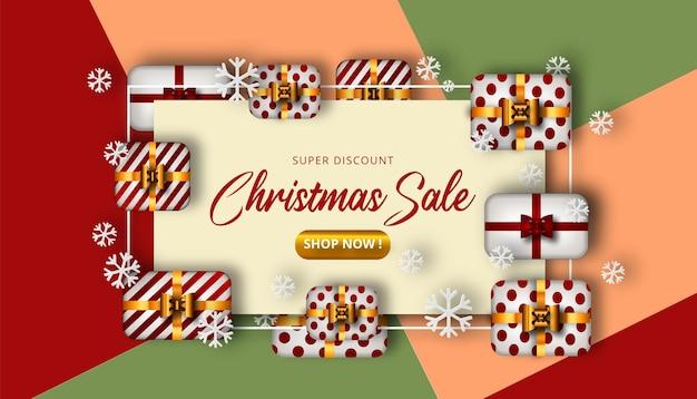 Fundo de venda de natal com caixas realistas e uma bela combinação de cores