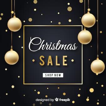 Fundo de venda de natal de bolas de ouro