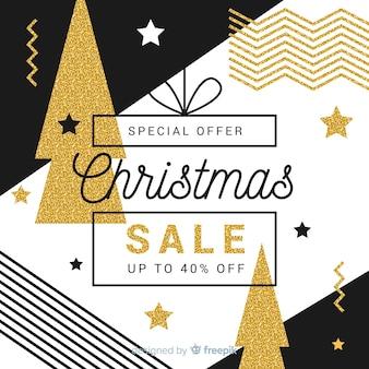 Fundo de venda de Natal dourado