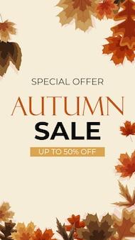 Fundo de venda de outono com folhas caindo pode ser usado como postagem de história em rede social