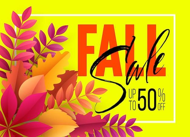 Fundo de venda de outono com folhas de outono. ilustração vetorial eps10