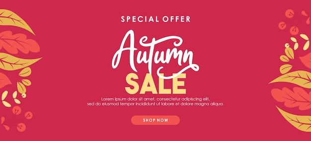 Fundo de venda de outono com folhas para venda de compras ou cartaz promocional e banner de quadro