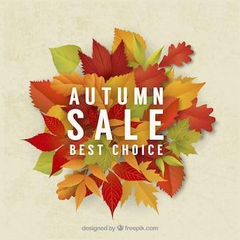 Fundo de venda de outono de folhas secas