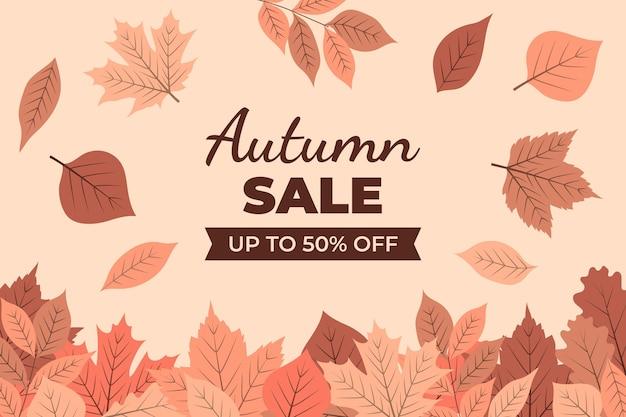 Fundo de venda de outono desenhado à mão