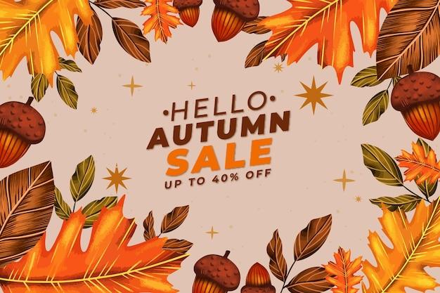 Fundo de venda de outono em aquarela