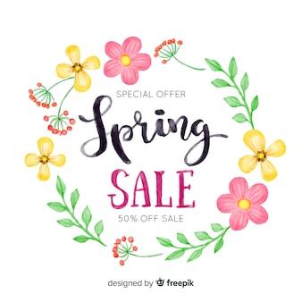 Fundo de venda de primavera aquarela grinalda