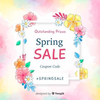 Fundo de venda de primavera aquarela