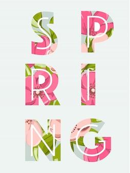Fundo de venda de primavera com linda flor rosa e folha