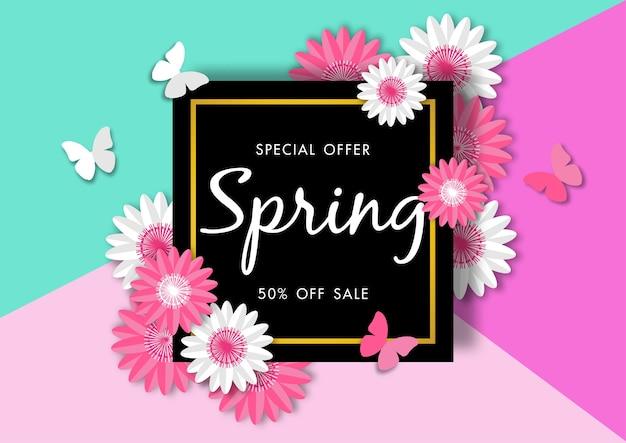 Fundo de venda de primavera com linda flor